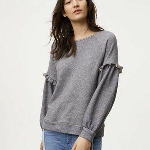 Ann Taylor Loft Gray Ruffled Sweatshirt XS